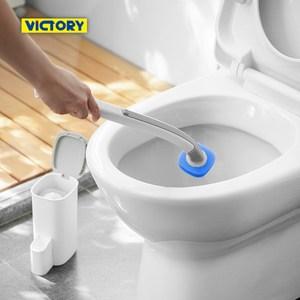 【VICTORY】浴室免洗劑一次性拋棄式清潔馬桶刷(2桿16替換)