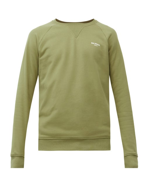 Balmain - Logo-print Loopback Cotton-jersey Sweatshirt - Mens - Green