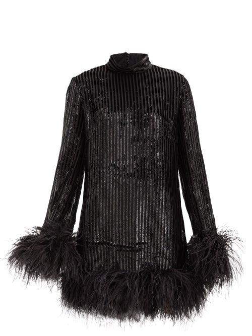 Taller Marmo - Gina High-neck Feather-trimmed Devoré Dress - Womens - Black