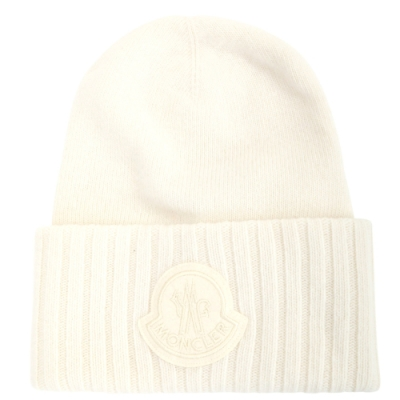 MONCLER 品牌標誌補丁純羊毛針織帽(白色)