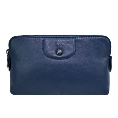LONGCHAMP LE PLIAGE CUIR系列小羊皮手拿/化妝包(深藍)