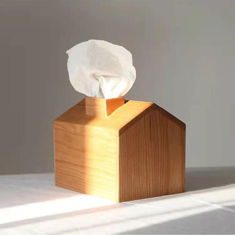 小木屋面紙盒 櫻桃木/黑胡桃木