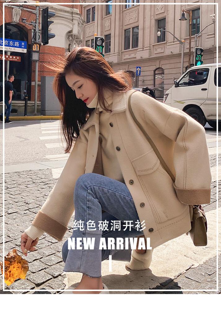 女士外套 秋冬外套 女短款外套 加厚外套 寬鬆外套 小個子毛呢大衣