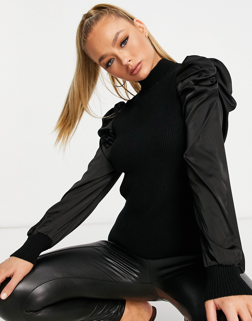QED London jumper with satin puff sleeve in black