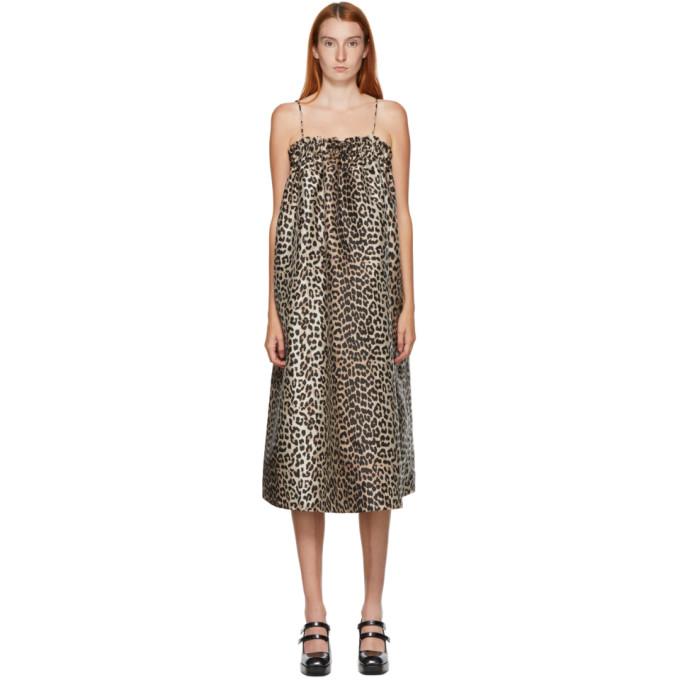 GANNI SSENSE 独家发售黑色 and 驼色 Crispy 豹纹连衣裙