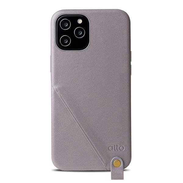 Alto iPhone 12 Pro Max 頸掛卡插皮革防摔手機殼 6.7吋 Anello 360 - 礫石灰【可加購客製雷雕】附頸掛繩