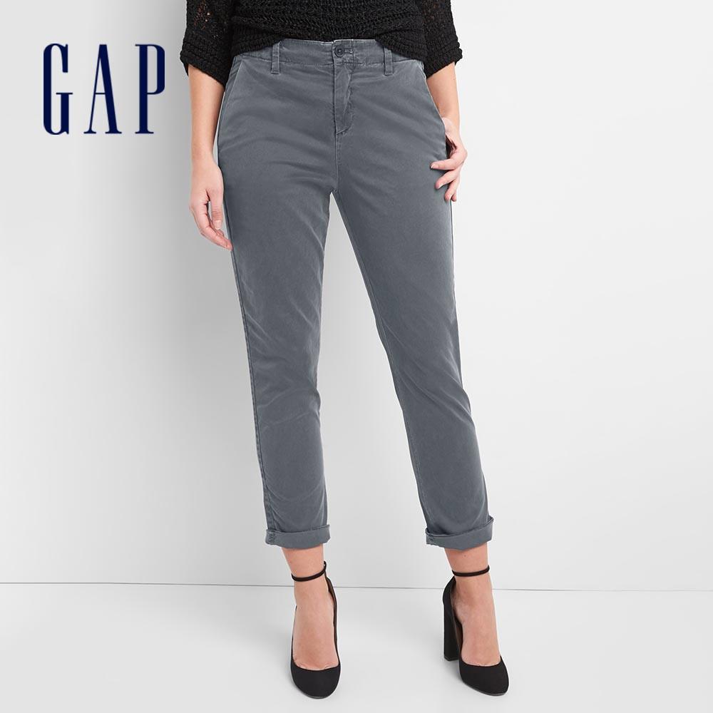 Gap 女裝 活力亮色直筒型休閒褲 256476-灰黑色