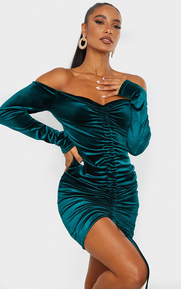 Emerald Green Velvet Bardot Ruched Midi Dress