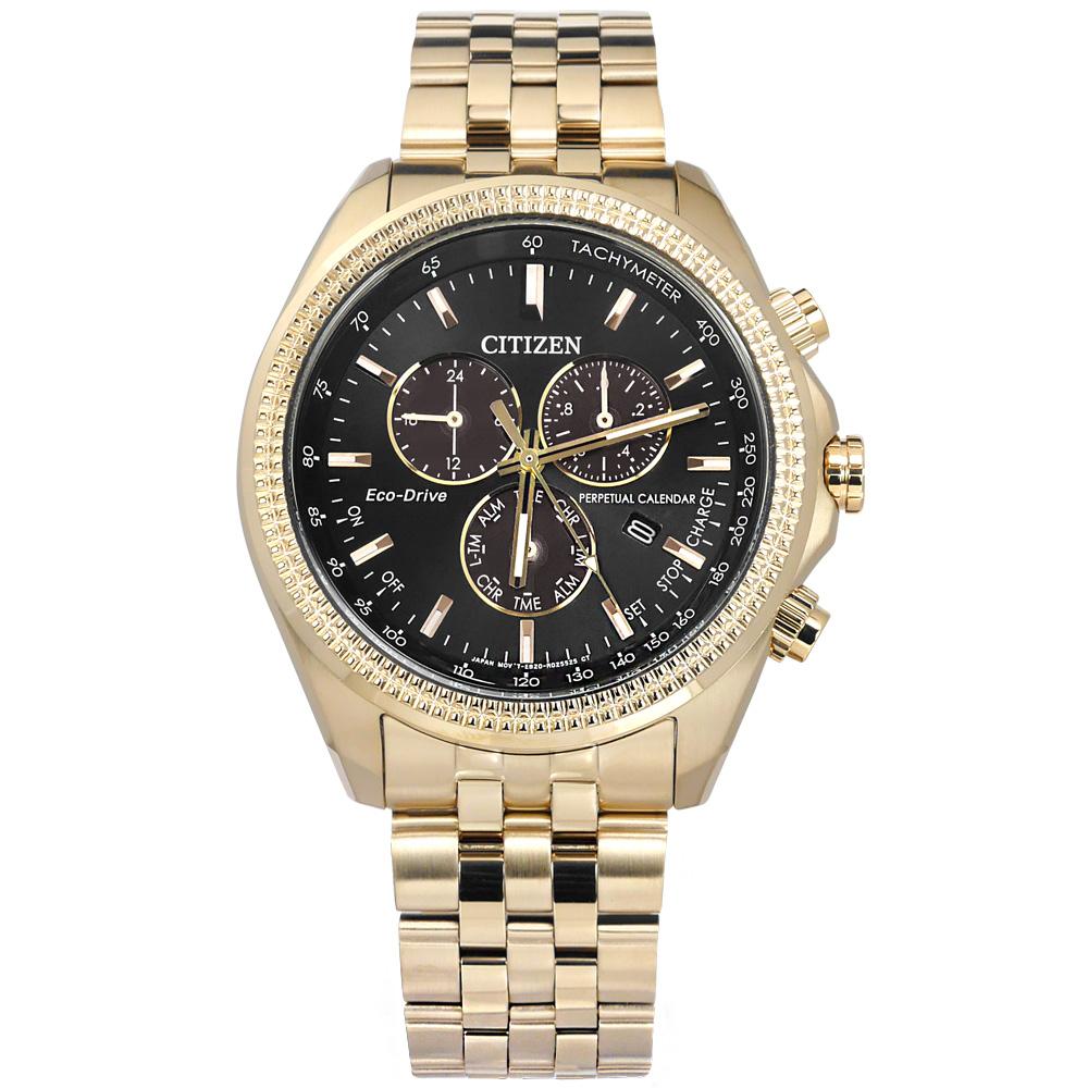 CITIZEN 光動能 萬年曆 兩地時間 不鏽鋼手錶 黑x鍍香檳金 BL5563-58E 43mm 廠商直送