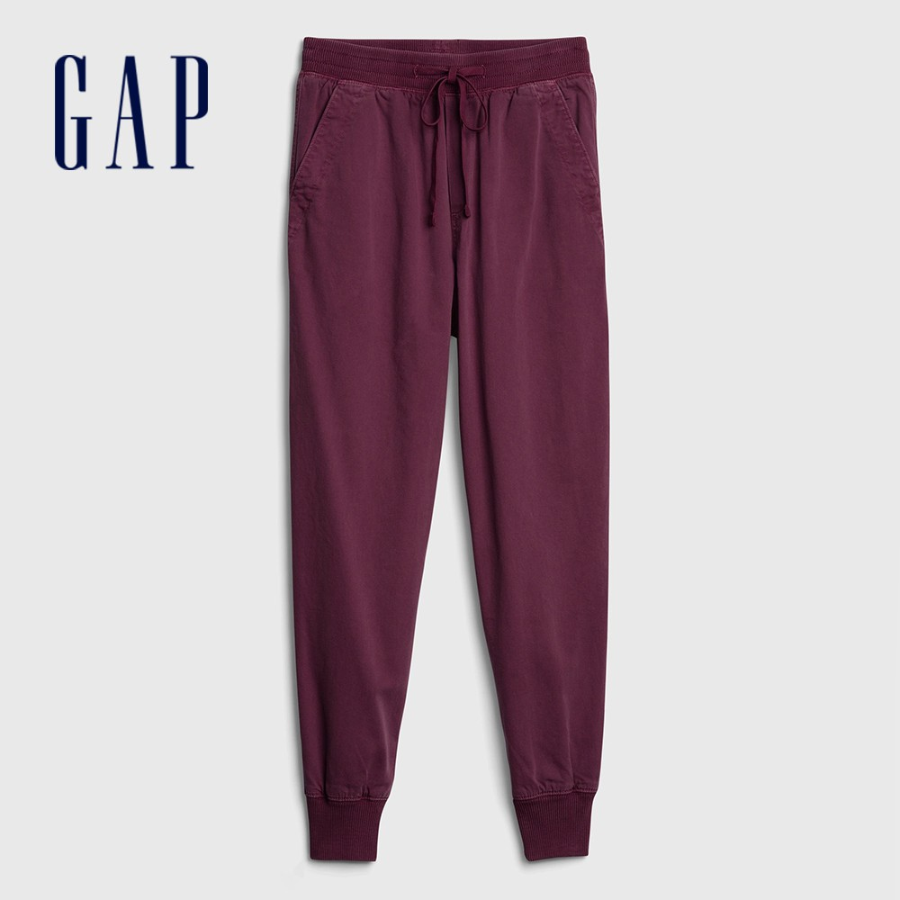Gap 女裝 活力亮色鬆緊梭織休閒褲 630261-暗紅色