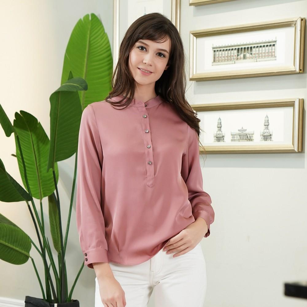 闕蘭絹知性氣質彈力緞長袖上衣 - 粉紫色 - 6637
