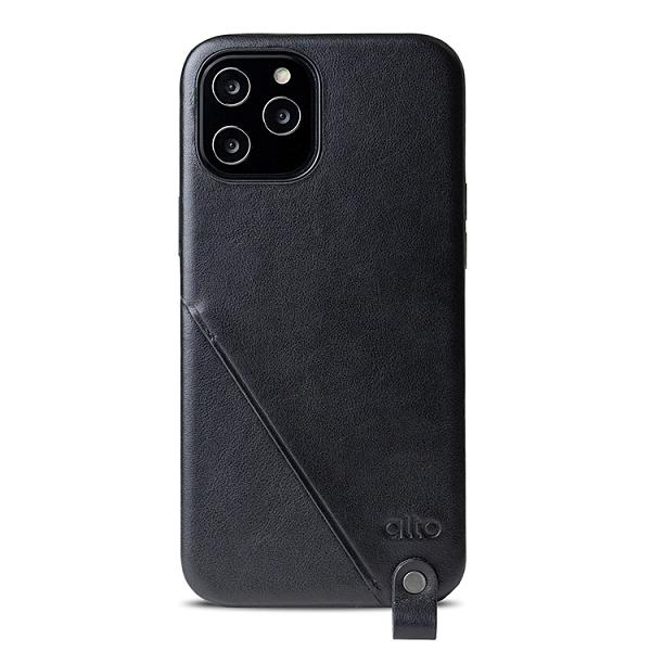 Alto iPhone 12 Pro Max 頸掛卡插皮革防摔手機殼 6.7吋 Anello 360 - 渡鴉黑【可加購客製雷雕】附頸掛繩