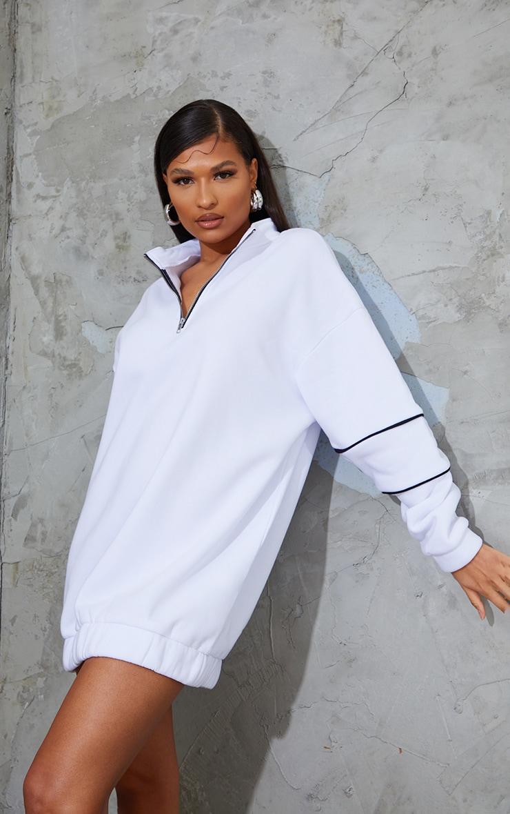 White Sleeve Binding Detail Zip Oversized Jumper Dress