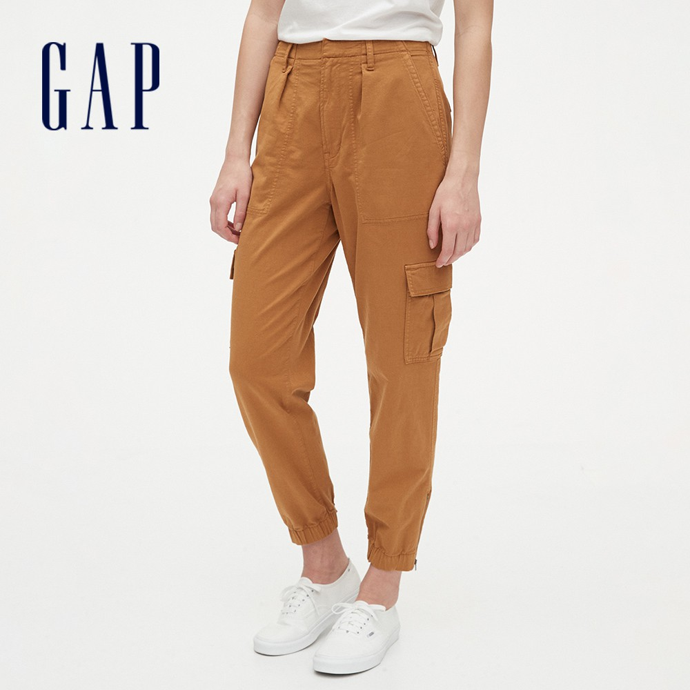 Gap 女裝 工裝風格純色休閒長褲 574014-棕色