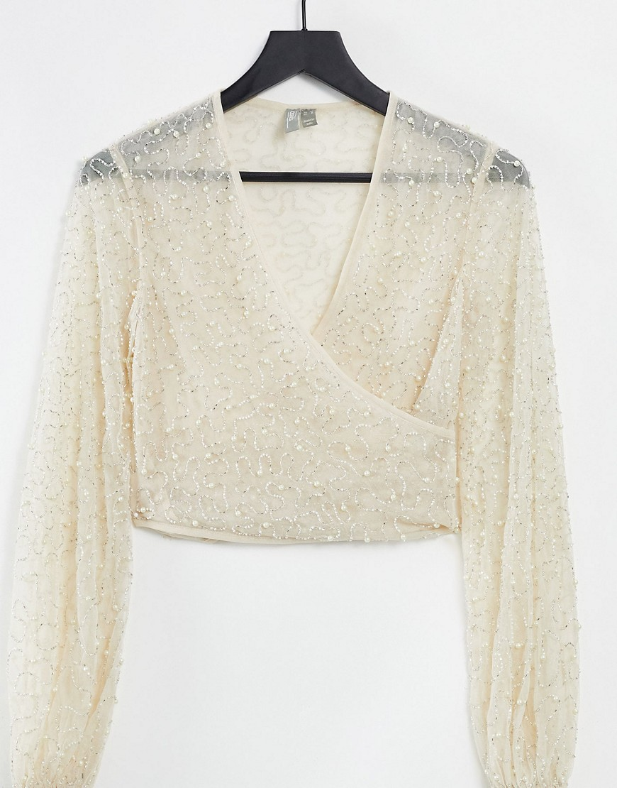 ASOS DESIGN pearl embellished top in cream-White