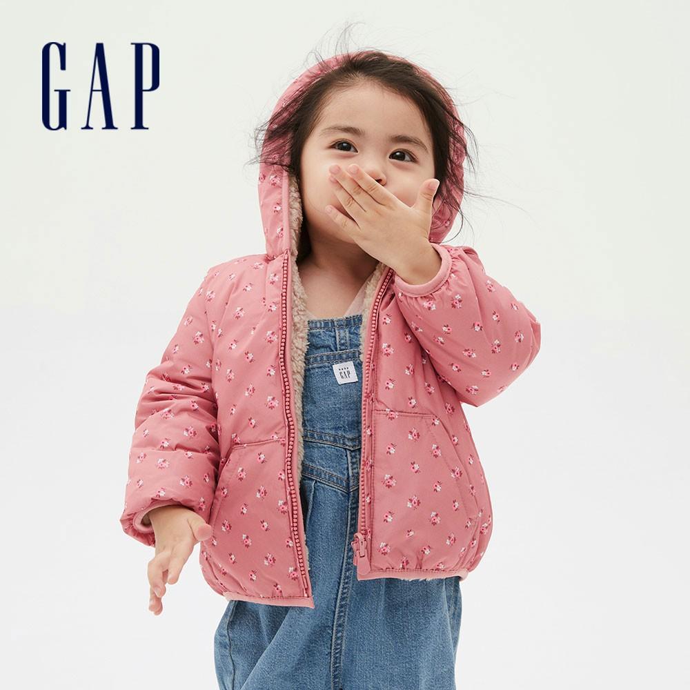 Gap 嬰兒 保暖印花兩面穿連帽外套 593699-粉色