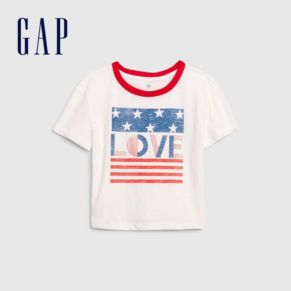 Gap 女童 迪士尼印花圓領短袖T恤 577852-白色