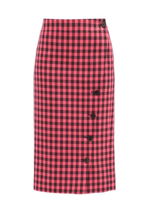 Balenciaga - Gingham-check Twill Pencil Skirt - Womens - Black Pink