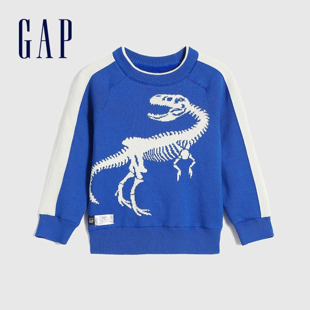 Gap 男幼童 Logo撞色條紋針織衫 593025-鈷藍色