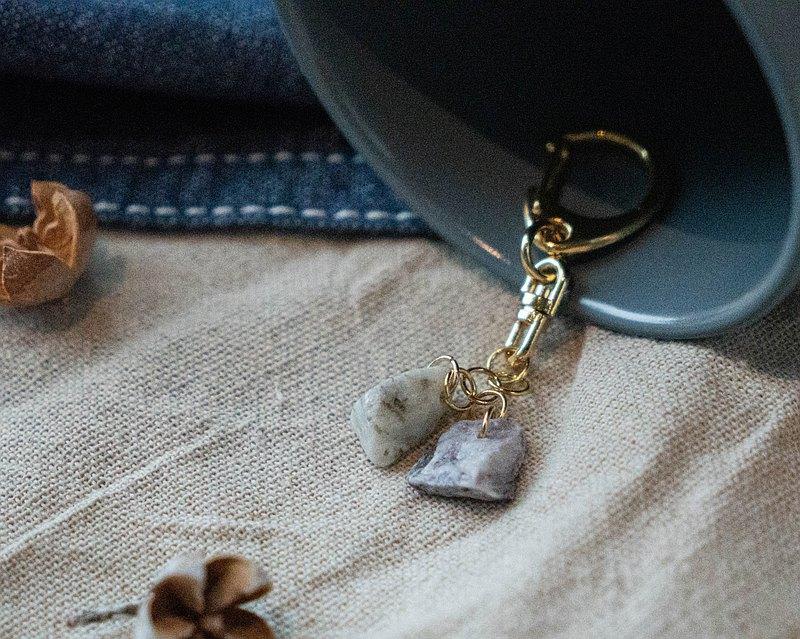 石穗-穀雨 雙色天然大理石鑰匙圈 鎖匙扣 吊飾 掛飾
