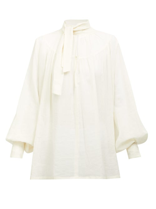 Ann Demeulemeester - Tie-neck Balloon-sleeve Cotton-voile Blouse - Womens - White