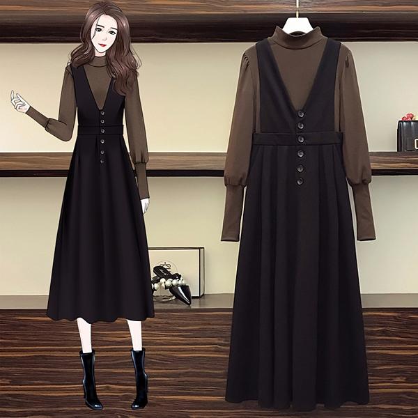 【A5308】高領上衣+吊帶裙 套裝 L-4XL