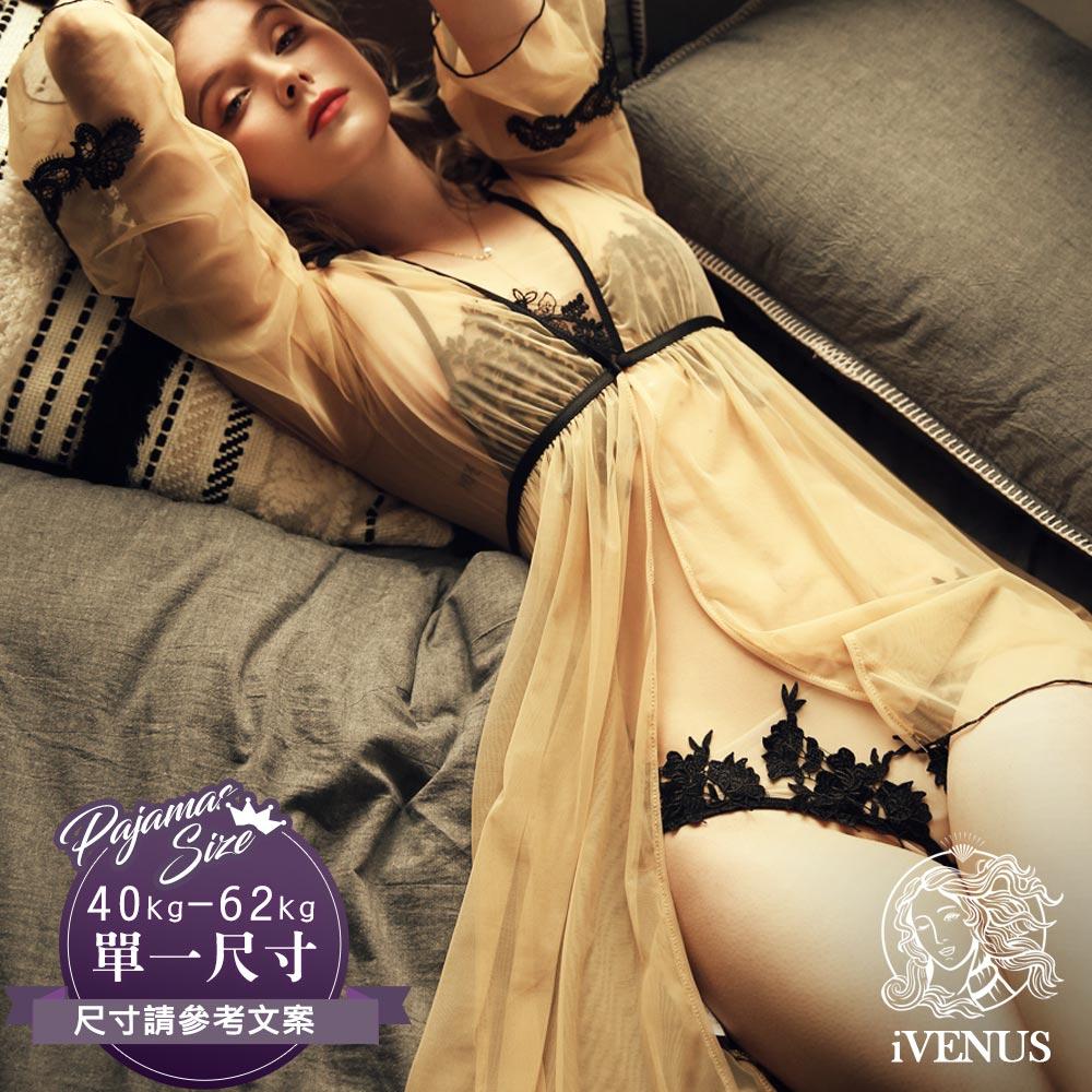 睡衣-裸心香吻外袍(睡衣可加購)法式性感透膚蕾絲誘惑華麗刺繡前扣式睡袍 玩美維納斯 平價睡衣