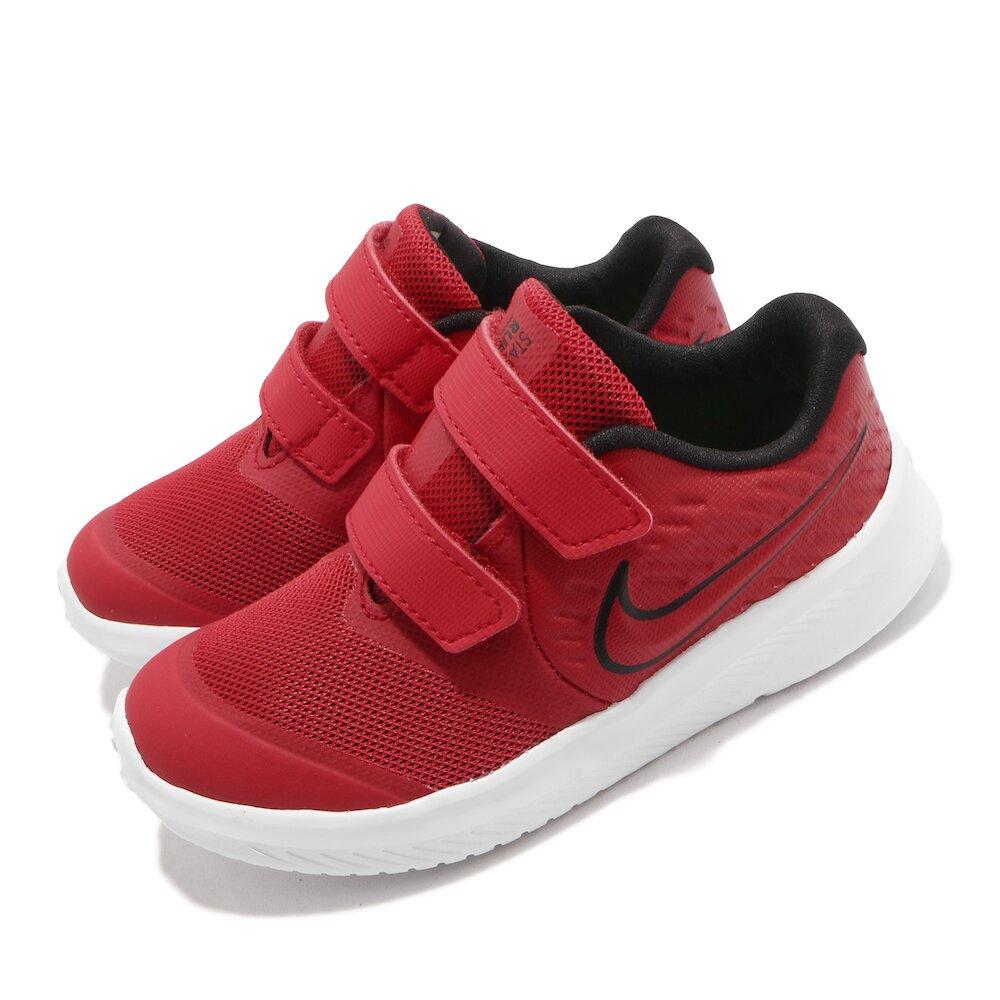 NIKE 慢跑鞋 Star Runner 2 運動 童鞋 輕量 透氣 舒適 避震 魔鬼氈 小童 紅 黑 [AT1803-600]