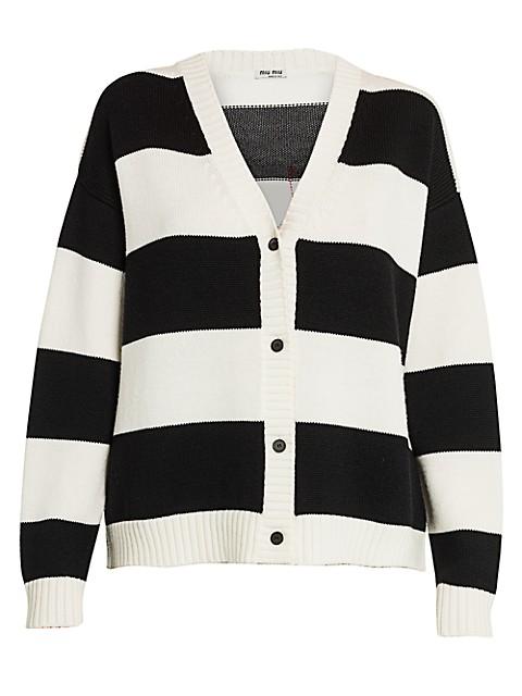 Striped Cat Mohair-Blend Knit Cardigan