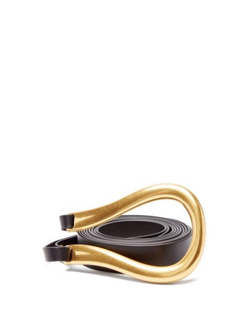 Bottega Veneta - Loop Leather Belt - Womens - Black Gold