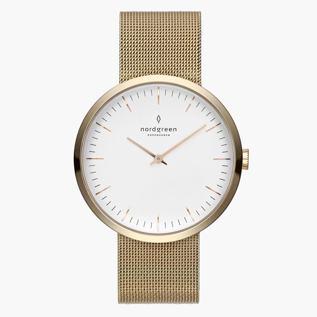 Nordgreen Infinity 金色白錶盤32MM(IN32GOMEGOXX )米藍錶帶【ERICA STORE】