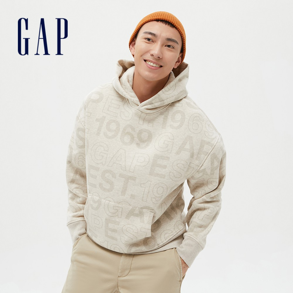 Gap 男裝 Logo剪毛絨連帽休閒上衣 656250-燕麥色