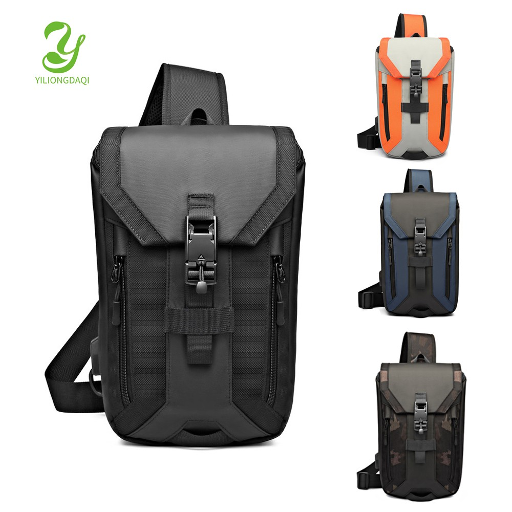 途亦 新款男士胸包 多隔層側背包 防水單肩包 商務筆電包 韓系時尚斜背包 USB充電胸包 大容量運動旅行側背包