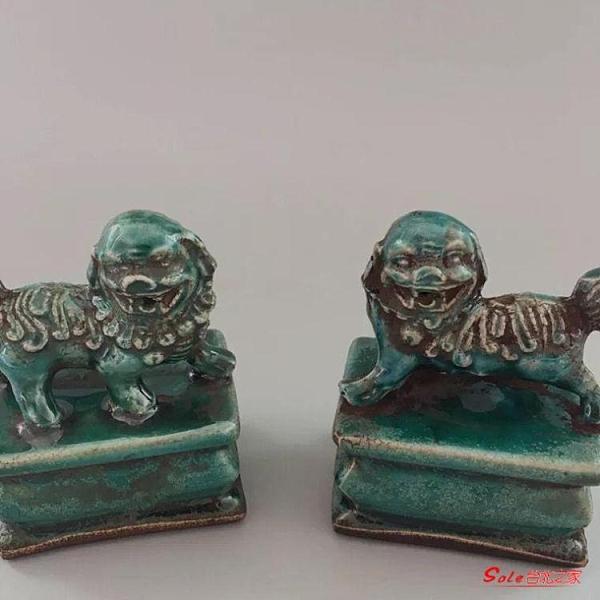 麒麟擺件 清光緒綠釉麒麟鎮紙(一對)印章古董古玩收藏仿古擺件古典老瓷器