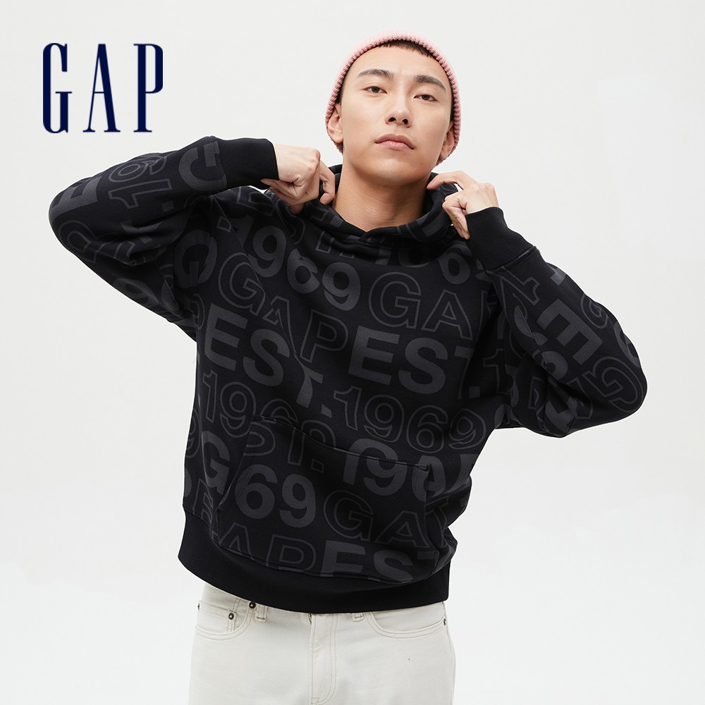 Gap 男裝 Logo內刷毛連帽休閒上衣 656250-黑色