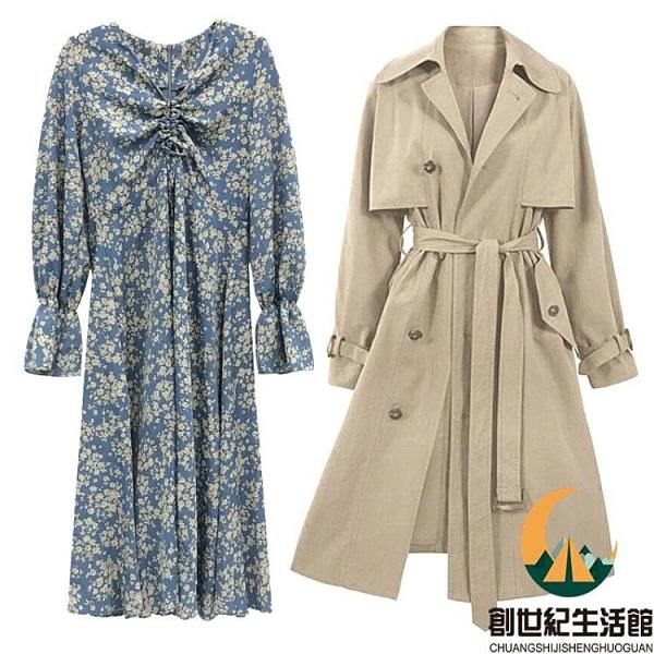 碎花配大衣外套法式連身裙兩件套裝【創世紀生活館】