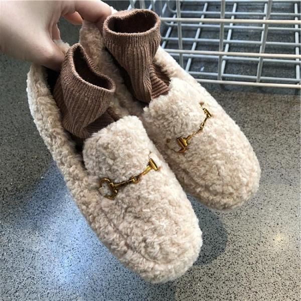 毛毛鞋女冬外穿保暖加絨加厚一腳蹬豆豆鞋仙女羊羔毛厚底增高棉鞋