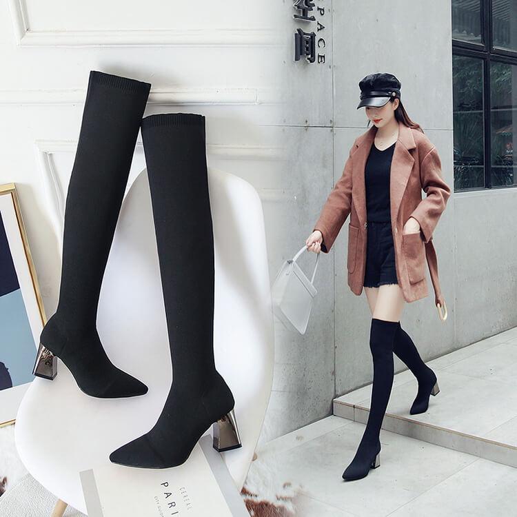 VIVILIAN原版激瘦高品質 日系時尚粗跟大彈力顯瘦美腿針織襪靴長靴過膝靴