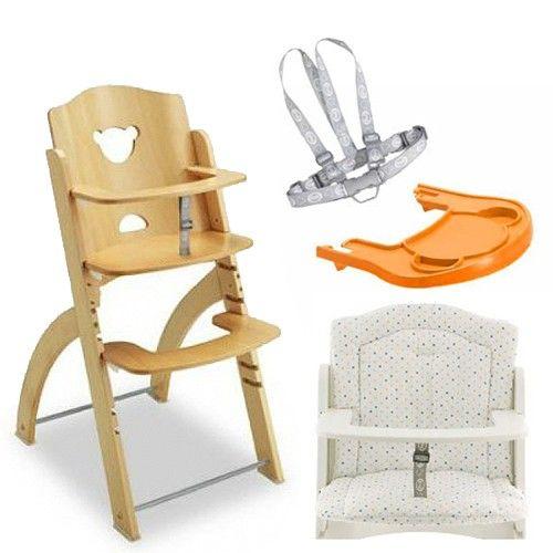 義大利 Pali - Pappy Re 熊寶寶成長餐椅組-原木-含點點坐墊、橘色小熊餐盤、安全帶