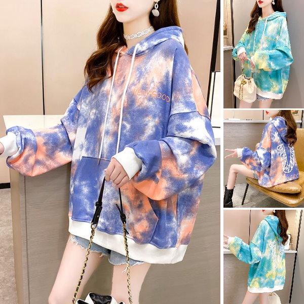 M-XL實拍~冬裝新款韓版潮流時尚連帽印花寬鬆大碼裝ins加厚加絨上衣(2色)-優美依戀