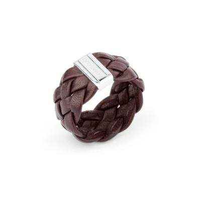 Brosway Soho 咖啡色皮革編織戒指-尺寸A