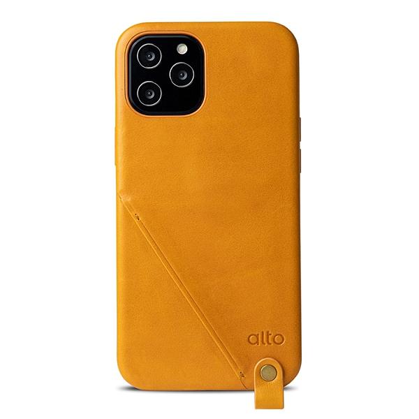 Alto iPhone 12 Pro Max 頸掛卡插皮革防摔手機殼 6.7吋 Anello 360 - 焦糖棕【可加購客製雷雕】附頸掛繩