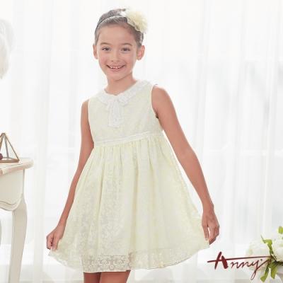 Annys安妮公主-夏天的酸甜檸檬-蕾絲圖騰暗紋蝴蝶結背心洋裝*8127黃
