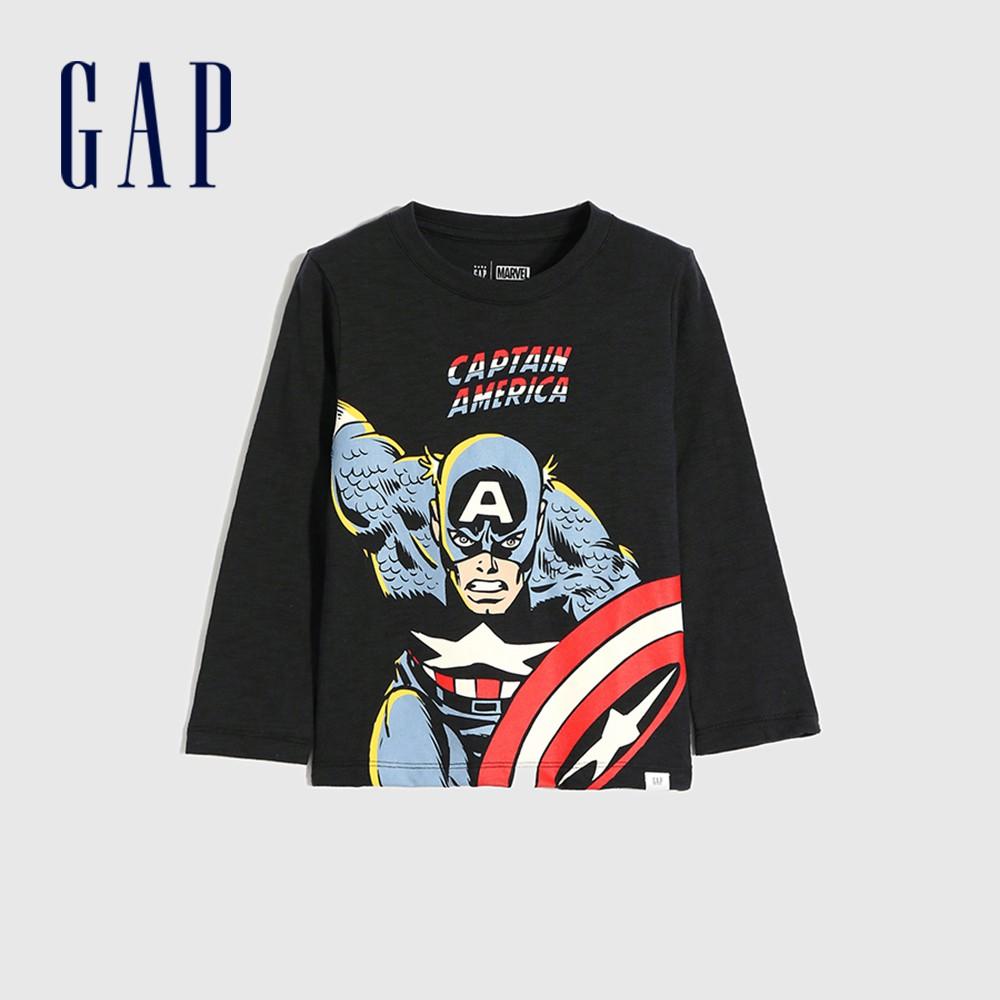 Gap 男幼童 Gap x Marvel 漫威系列印花圓領長袖T恤 649639-暗夜黑