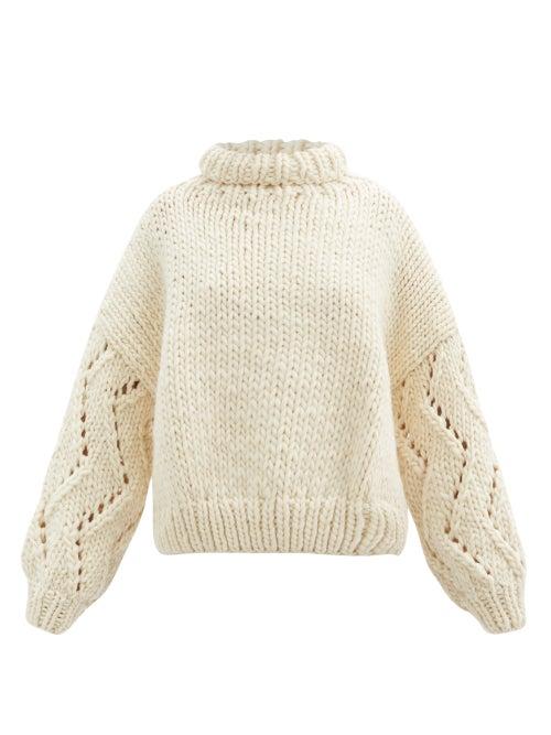 Mr Mittens - Roll-neck Balloon-sleeve Wool Sweater - Womens - Ivory