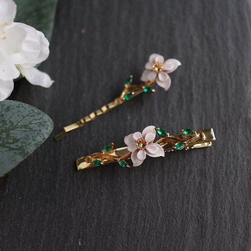 歐式浪漫 宮廷花朵 翠綠色樹枝 髮質髮夾 新娘秘書婚禮結婚