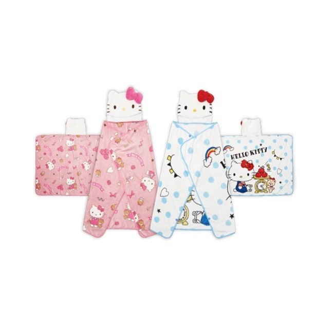 Hello Kitty 法蘭絨披風連帽毯100x140cm【款式隨機出貨】