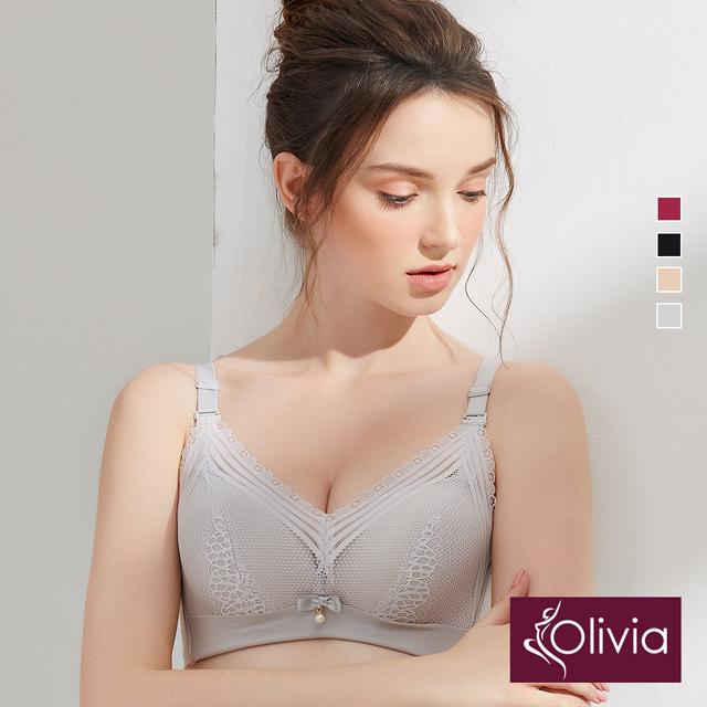 【Olivia】無鋼圈拼接蕾絲內衣-灰色