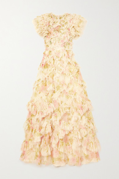 Needle & Thread - Genevieve Rose 荷叶边花卉印花绢网礼服 - 米色 - UK10