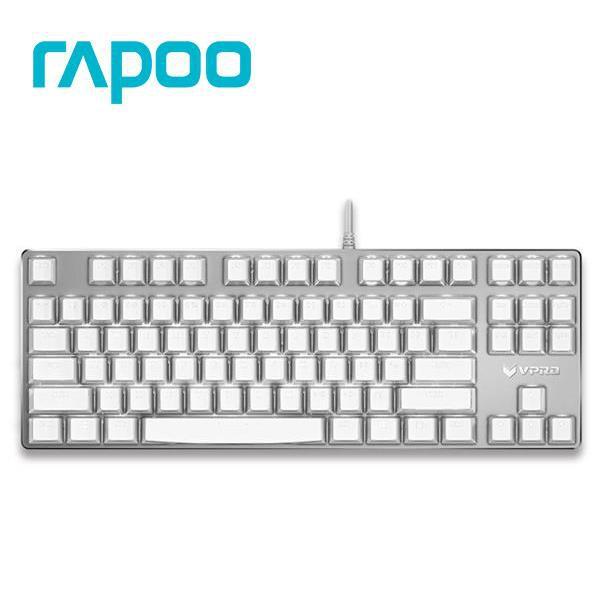 雷柏 Rapoo VPRO V500S 水晶版機械軸遊戲鍵盤 青軸 有線鍵盤 水晶鍵帽 磨砂鋁合金 接收器USB 拔鍵器